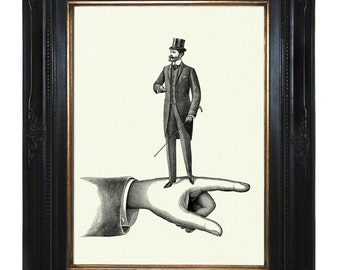 Victorian Gentleman Art Print walking on a Hand Top Hat Steampunk Art Print Surrealism Frock Coat Cane