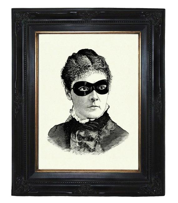 Masked Victorian Lady Woman Steampunk art print