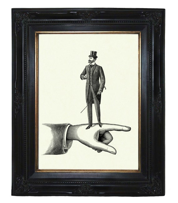 Victorian Gentleman walking on a Hand Top Hat Steampunk art print