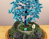 Unique Miniature Turquoise Temple Tree  Nature Sculpture