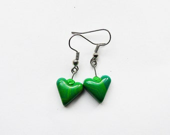 Polymer clay heart earrings Grass green earrings Spring earrings Dangle earrings Heart earrings Small earrings Casual earrings Spring Summer