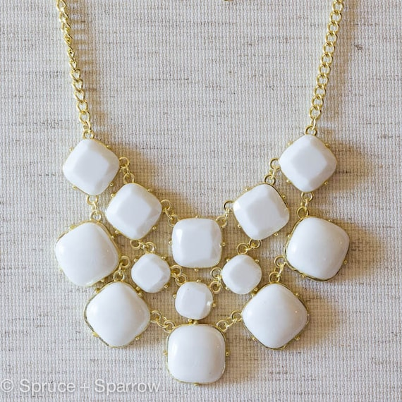 White Chunky Necklace White Bib Statement Necklace