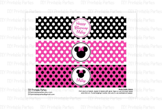 ... Minnie Mouse Theme Personalized Happy Birthday Water Bottle Labels