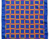 Signature Nr. 1 Pocket Square - Silk Blue Pink Yellow Gold Geometric Squares - Gift For Him - Wedding