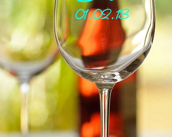 Bride, Bridesmaid personalized wine glass with wedding date