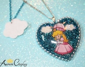 Princess Peach Blue Heart Pendant Necklace