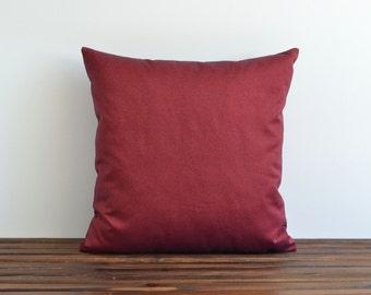 24x24 Denim Pillow Cover - Indoor Outdoor Modern Maroon Decorative Throw Pillows Accent Throw Pillow Covers - Garden Decor