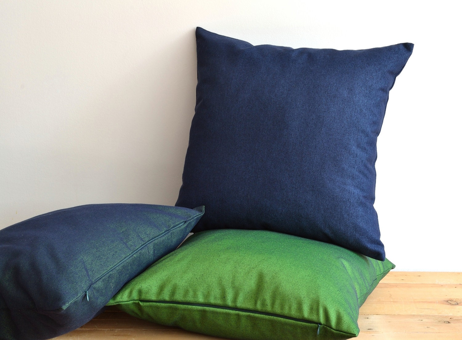 Indoor Outdoor Decorative Navy Blue Denim Pillow Cover