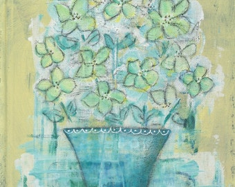 Monday Morning Bouquet - Mixed Media Art PRINT - 8x10 - Aqua Teal Lime Spring Green White Black