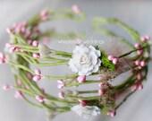 Flower Girl Head Piece, Halo, Crown, Hair Piece - Spring or Summer Wedding, Pink & Green