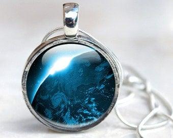 Space Jewelry - Space Glass Pendant - Earth Sunrise Necklace - Space Pendant (SJ12)