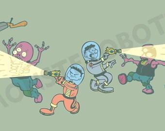 "Space men versus alien monsters, Art - ""Negotiations on Alula Borealis"" - 13x19 Digital Print"