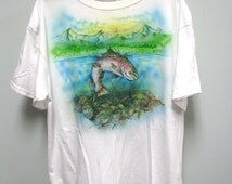 Aibrushed T Shirt, Trout and Mountain Sunset