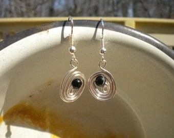 Chakra Jewelry - Black Onyx Wire Wrapped Earrings