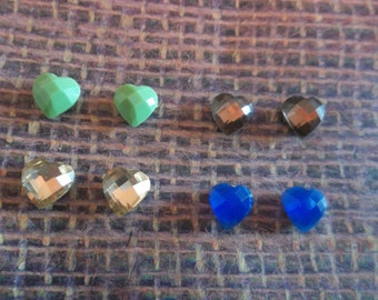 Magnetic acrylic heart shaped 8mm earrings in 4 colors