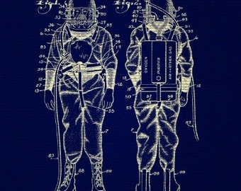 Retro Deep Sea Diver Suit Blueprint 8x10 Print