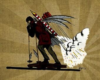 Steampunk Rocket Man 8x10 Original Illustration Print
