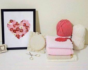 Mixed/Multicolor Valentine's Day Heart made from Pressed Flowers - Wall Art
