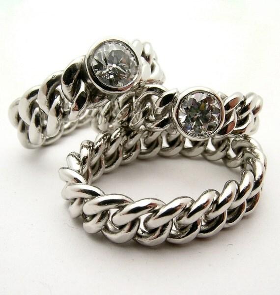 Wedding Ring On Chain Boy Or Girl: Hand Made Platinum Chain Diamond Ring