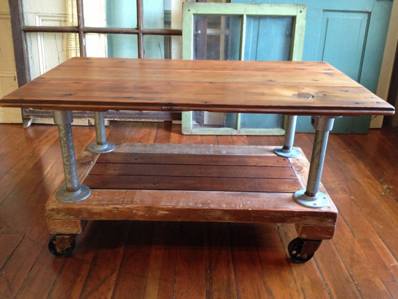 Coffee Table Reclaimed Wood Metal Casters By