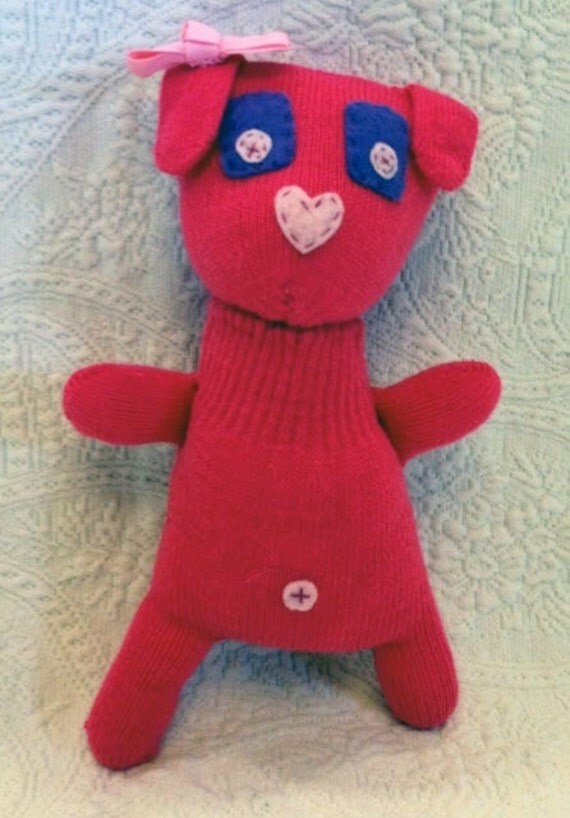 Handmade sock animal - stuffed animal - Pretty in Pink glove puppy
