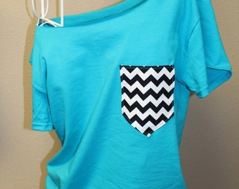 Pocket Off-the-Shoulder Shirt Chevron Cheetah