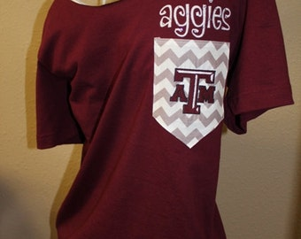 Texas A&M Aggies Pocket Off-the-Shoulder Shirt Chevron Aggie