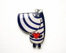 Cute Zebra In Love Brooch Pin Zebra Jewelry Free shipping Animal Brooch Pin Animal Jewelry Gift for her Gift For Girl Gift For Daughter