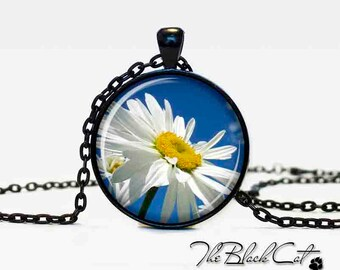 Chamomile pendant Chamomile necklace Chamomile jewelry white blue yellow flower jewelry art gift for her