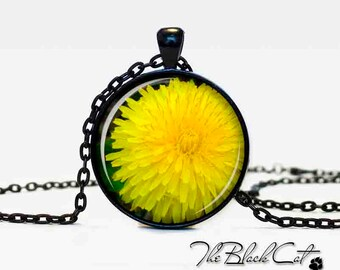 Dandelion pendant  Dandelion necklace  Dandelion jewelry  yellow flower jewelry art gift for her