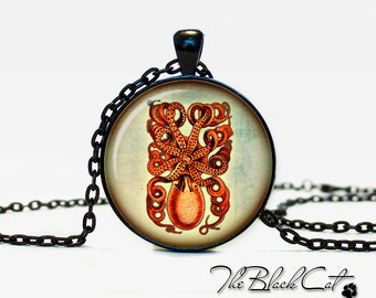 Octopus pendant Octopus jewelry Octopus necklace vintage style Sea life jewelry