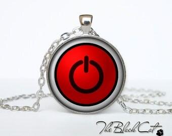 Button Power necklace Button Power jewelry Button Power pendant neon computer