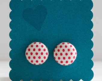 White with Red Polka Dots Fabric Button Earrings