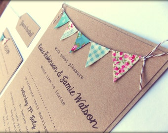 Rustic Wedding Invitation. Unique Rustic Kraft Card with Bunting. Summer Fete Bunting on Kraft Card with baker's twine