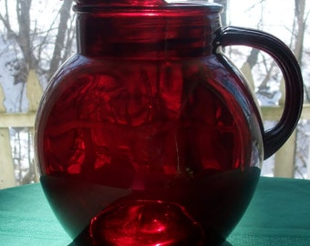 Anchor Hocking Ruby Red Ball Pitcher