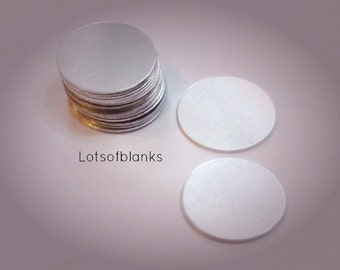 "1""  Aluminum Round Blanks -  22 gauge  -Aluminum Hand stamping metal disc  -Stamping Supplies"