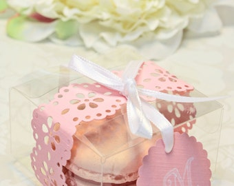 Pink Doily Shower Favors, Pink French Macaron, Favor Boxes - Set of 30 Favor Boxes, Bridal or Wedding Favors