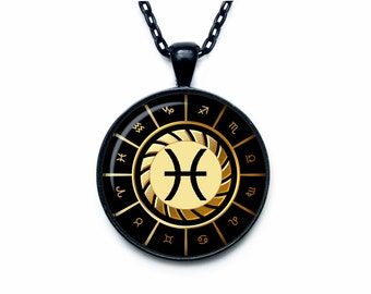 Pisces Necklace, Pisces Pendant Pisces jewelry Zodiac Sign Pendant, Constellation Jewelry Art gift for men for women  Golg
