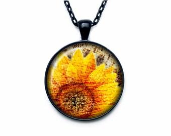 Sunflower pendant Sunflower necklace Sunflower jewelry nature necklace
