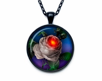 Gothic Rose pendant steampunk necklace halloween scary  jewelry (PGS00007)