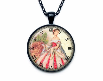 Victorian lady clock pendant Victorian lady clock necklace