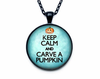Keep calm and carry on jewelry keep calm and carry on necklace keep calm and carve a pumpkin