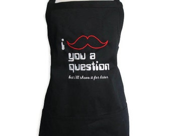 Mustache Apron for men or women, personalized apron, Optional Name Available, Christmas Gift, Barbeque Apron, Chef Apron, Grilling Apron