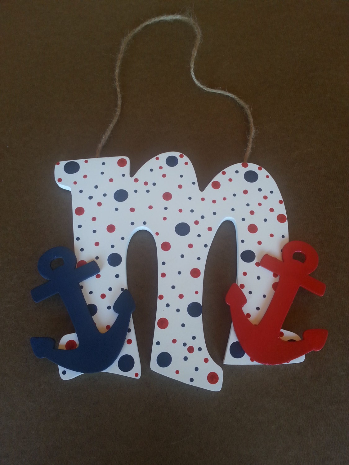 Painted wooden letter anchor decor hand painted letter for Letter n decorations