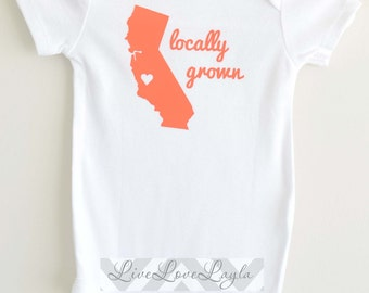 Personalized Locally Grown Bodysuit / Baby Bodysuit/ Cute Creeper  LONG SLEEVE AVAILABLE