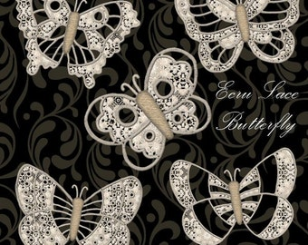 Ecru Lace Butterfly - Digital Scrapbook Clipart Graphics Lace Butterflys