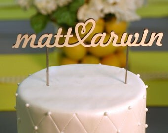 Wood Name Cake Topper with Heart