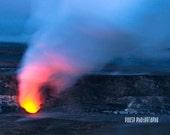 "Hawaiian Art, Big Island, Kilauea, Fire, Volcano, Hawaii Photography, Nature, Red, Blue Wall Decor, Smoke, Spa, Poster - ""The Fire Inside"""
