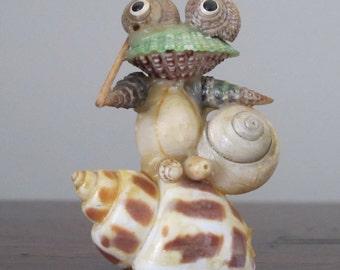 Vintage 1980s Kitschy Frog Figurine Seashell Art