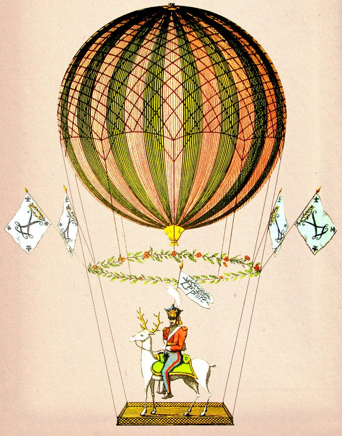 Vintage Hot Air Balloon Zephire 8X10 Art Print by LoopyLolly
